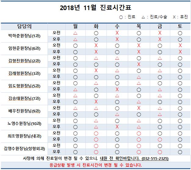 2018년 11월 의료진별 진료시간표